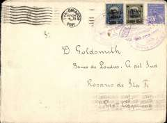 (Brazil) Aeropostale, Brazil to Argentina, cover postmarked Rio de Janeiro November 23, 1929 to Rosario de Santa Fe (Argentina) with transit Buenos Aires b/s November 25 and fine strike Rosario arrival b/s  November 26. Ironed vertical crease, Very high franking of 6500 reis.