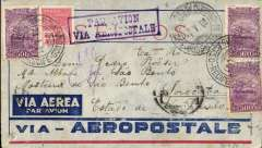 (Brazil) Aeropostale, Internal Brazilian airmail, pre-printed special cover postmarked Recife January 30, 1931 to Sao Paulo with arrival b/s February 1, blue boxed ?Par Avion Via Aeropostale? cachet. Side opening. Franking of 1800 reis. Small closed tear bottom lh corner.