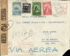 "(Brazil) Aeropostale, internal airmail, cover from Recife postmarked November 11, 1931 to Rio de Janeiro with arrival b/s of November 14. Franking of 2550 in stamps + some faint meter franking. Chaco Wsar censor tape ""Aberta Pela Censura"" and ""S.P."" . One corner missing."