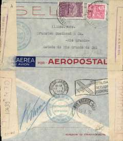 (Brazil) Aeropostale, internal airmail, special Aeropostale pre-printed cover from the Greek Consulate in Rio, postmarked Rio de Janeiro January 13, 1933 to Rio Grande with arrival b/s January 15. Chaco War censor tape at both ends of the cover. Franking of 700 reis.