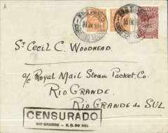 (Brazil) Civil war censored internal airmail Rio de Janero-Ro Grande, bs 23/9, plain cover franked 1200R, black boxed Censurado/Rio Grande censor mark on front.Throughout this period of his office President vargas maintained censorship to protect himself and his ideals. A nice combination of airmail and military history.