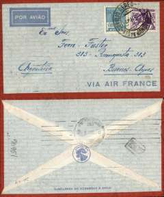 (Brazil) Air France pre-printed cover from Rio de Janeiro postmarked May 2, 1935 to Buenos Aires (Argentina) with arrival b/s May 4. Franking of 1200 reis.
