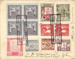 (Paraguay) Registered cover from Asuncion with Correo Aereo postmark of August 17, 1939 to Rio de Janeiro with arrival b/s of August 21. Boxed cachet of sender Paraguay President Josef Estigarribia. Great franking which takes up most of the front of the cover: Scott 324, 336, 346, C22 (block of 4), C59, C62, C63 and C73 (pair). Nice item.