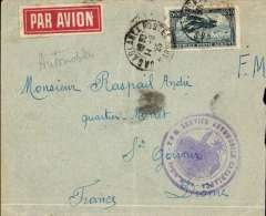 (Morocco) Cover postmarked Casablanca August 11, 1925 to St-Gervais (France) with faint August 15 (?), 1925 b/s. Circular military handstamp ?T.O.M. [Thיatre des operations militaries] Service Automobile Casablanca?. Unusual airmail label. Scott C3. Faint vertical crease and nibbled rh edge.