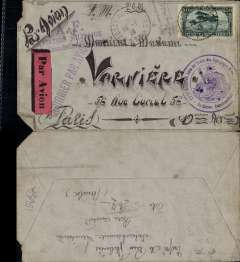 "(Morocco) Military flown mail MOROCCO-FRANCE, cover with Postes aux Armיes postmark (January 15, 1926) to Paris (no b/s). This cover was likely carried by military airplane since it has the handstamp ""A.F. Aviation miitaire – Escadrille"" and ""Courrier par avion"" which is not seen on mail from the military sent by the usual Latיcoטre service. Very beautiful calligraphy. One corner missing and another bent. A little worn but rare usage."