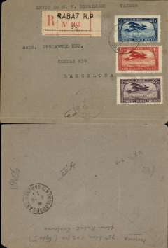 (Morocco) Lignes aיriennes Latיcoטre, registered (label) cover postmarked Rabat August 3, 1928 (or 1922) to Barcelona (no b/s) with Toulouse transit b/s August 4, 192?, plain light grey cover franked  rare Scott C4 (blue 75c) + C7 and C10. Since Barcelona was the stop before Toulouse on the route from Casablanca, it is strange that the cover reached Toulouse (to be sent back to Barcelona on the return flight ?). The Latיcoטre years (1919-1927) represent the beginning of the golden age of French airmail. These covers are the only artefacts still available (and affordable) from this exciting period in aviation history.