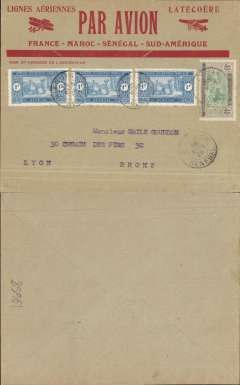 (Morocco) Cover postmarked St-Louis (Senegal) March 30, 1926 to Lyon (no b/s). Scott Senegal 113 and Mauritania 36. Beautiful and rare variety of Latיcoטre airmail cover advertising the extension to South America. These late airmail covers are much scarcer than the usual red-bordered ones.