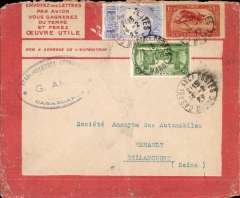 (Morocco) Cover postmarked Casablanca February 14, 1925 to Billancourt (France) (no b/s), attractive red bordered Lingnes Aerienne Lacotiere airmail cover with various route and rates printed verso, franked Scott 58, 65 (faults) + C7