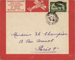 (Morocco) Cover postmarked from Casablanca December 15, 1922 to Paris (no b/s), attractive red bordered Lingnes Aerienne Latיcoטre airmail cover with various route and rates printed verso, franked Scott C5.
