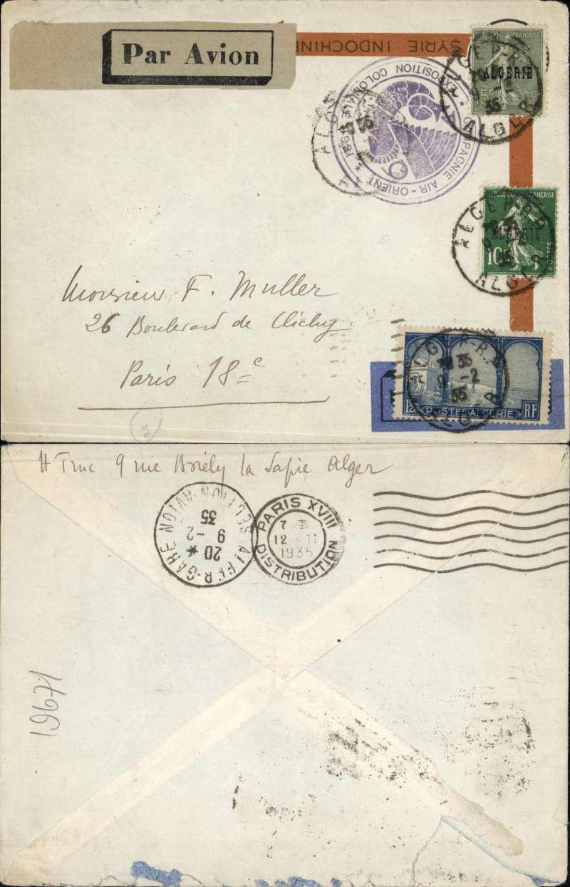 (Algeria) Air France Alger-Marseille service, cover from airmail specialist Henri Truc postmarked Alger February 9, 1935 to another airmail specialist Frank Muller in Paris with arrival b/s February 12. Interesting usage of obsolete Air Orient envelope with 1931 Colonial Exhibition cachet. The Alger-Marseille service was in operation since 1928 but covers from that route are scarce (compared to the Casablanca-Marseille route). Scott 8, 9 and 61.