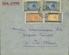(French Mauritania) Air France within Africa service, cover postmarked Atar (Mauritania) January 31, 1934 addressed to an interpreter (Air France employed ?) in Port-Etienne (Mauritania) with arrival b/s February 10th and transit b/s in Saint-Louis (Senיgal) of February 9th. Atar is located in the interior of Mauritania just west of Port-Etienne. Since it was sent by airmail it travelled all the way south-west to Saint-Louis by land and then was sent by air from Saint-Louis to Port-Etienne, two consecutive stops on the Dakar-Casablanca line. Scott 27, 32 and 40 (2).