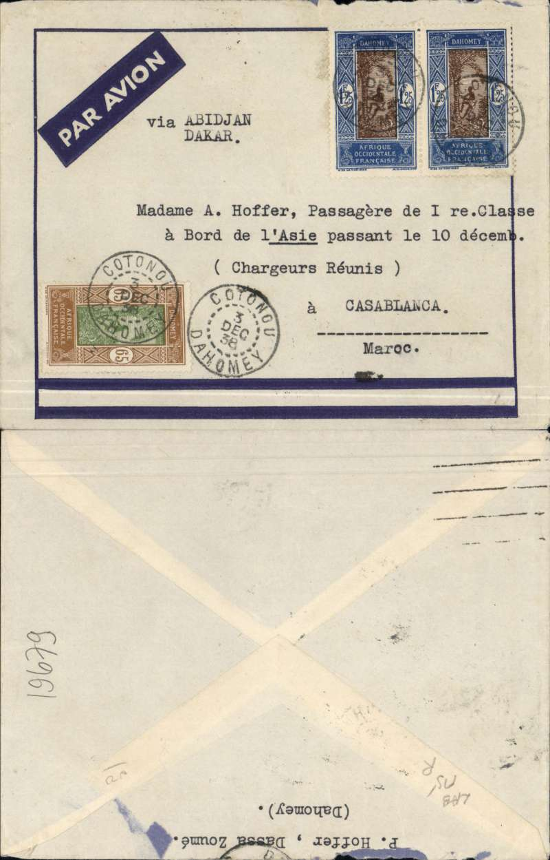 (Dahomey) Aeromaritime/Air France, cover postmarked Cotonou December 3, 1938 to someone on board ship in Casablanca (no b/s). The cover was flown from Cotonou to Dakar by Aיromaritime and from Dakar to Casablanca by Air France. SCOTT 69 and 80 (pair)