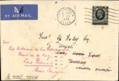 (GB External) England-Canary Islands, Southend-on-sea (Essex) postmarked December 2, 1933 to crew member aboard SS Umvoti, Tenerife, and redirected to Las Palmas (Canary Islands). No arrival b/s but Paris transit b/s December 5th. Likely Air France from Toulouse/Marseille to Spain, then to the Canary Islands on a Spanish airline such as LAPE. Air mail label. Sc. 165 (4 pence) franking. Part of flap missing, otherwise fine. Unusual destination.  The UMVOTI was built in 1903, during the great shipping strike of 1925. It was  scuttled as a WWII blockship off Folkstone in mid-1940.