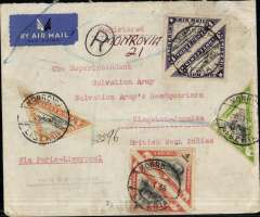 "(Liberia) Air France/Aeromaritime, Liberia-Jamaica, registered cover from Monrovia (Liberia) postmarked January 8, 1938 to Kingston (Jamaica) with arrival b/s of January 25. Typed instructions ""Via Paris-Liverpool"". Franked on both sides of the cover with Scott nos. 271 (2), 274 ( pair), C3B (single and pair), C3C (pair), C3D (2 singles and 2 pairs), likely Monrovia to Dakar by Aיromaritime, Dakar to France by Air France, then by air to England, and England (Liverpool) by ship to Jamaica."