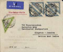"(Liberia) Air France/Aeromaritime, Liberia-Jamaica, registered cover from Monrovia (Liberia) postmarked Monrovia, date illegible, but typed date of April 15, 1938, transit b/s London April 23, ms arrival b/s (in pencil May 10, 1938). Typed instruction ""Via Dakar-Paris"". Franked with Scott nos. C3A and C3E (2 pairs), likely Monrovia to Dakar by Aיromaritime, Dakar to France by Air France, then by air to England, and England (Liverpool) by ship to Jamaica."