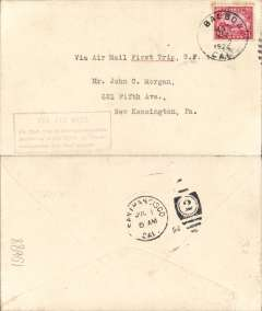 "(United States Internal) F/F Transcontinental Airmail Route involving night flying, flown eastbound San Francisco 1/7 to New York, no arrival ds (usually bs only at Cleveland, Chicago, Cheyenne, SLC and Reno), correct 24c three zone rate, franked C6, magenta four line boxed cachet ""Via Air Mail/On first trip through schedule/involving night flying on Trans-/continental Air Mail Route""."