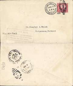 "(United States Internal) F/F Transcontinental Airmail Route involving night flying, flown eastbound from San Francisco 1/7 to New York, and on to Vergennes, Vermont bs 3/7 , correct 24c three zone rate, franked C6, magenta four line boxed cachet ""Via Air Mail/On first trip through schedule/involving night flying on Trans-/continental Air Mail Route""."