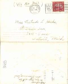 """(United States Internal) F/F Transcontinental Airmail Route involving night flying, flown eastbound from San Francisco to Cleveland, no arrival ds, postmarked San Francisco 1/7,  plain cover franked correct 24c (C6) three zone rate, magenta four line boxed cachet """"Via Air Mail/On first trip through schedule/involving night flying on Trans-/continental Air Mail Route"""", ms 'Via Air Mail'."""