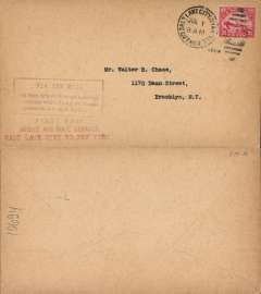 "(United States Internal) F/F Transcontinental Airmail Route involving night flying, flown eastbound from Salt Lake City to New York, no arrival ds, postmarked  Salt Lake City 1/7,  plain cover franked correct 24c (C6) three zone rate, magenta four line boxed cachet ""Via Air Mail/On first trip through schedule/involving night flying on Trans-/continental Air Mail Route"", typed ""Salt Lake City to New York""."