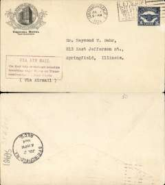 "(United States Internal) F/F Transcontinental Airmail Route involving night flying, flown eastbound from San Francisco to Chicago, Springfield, Illinois 2/7 arrival ds, postmarked San Francisco 1/7,  Granada Hotel, San Francisco corner cover franked correct 164c (C5) three zone rate, magenta four line boxed cachet ""Via Air Mail/On first trip through schedule/involving night flying on Trans-/continental Air Mail Route"", typed 'Via Air Mail'."