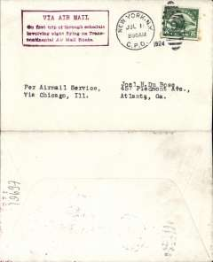 "(United States Internal) F/F Transcontinental Airmail Route involving night flying, flown westbound from New York to Chicago, no arrival ds, postmarked New York 1/7,  plain cover addressed to Atlanta, franked correct 8c (C4) one zone rate, fine strike magenta four line boxed cachet ""Via Air Mail/On first trip through schedule/involving night flying on Trans-/continental Air Mail Route"", typed 'per Airmail Service/via Chicago, Ill'."
