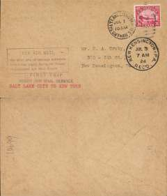 "(United States Internal) F/F Transcontinental Airmail Route involving night flying, flown eastbound from Salt Lake City to Cleveland, New Kensington, PA 3/7 arrival ds, postmarked  Salt Lake City 1/7,  plain cover franked correct 24c (C6) three zone rate, magenta four line boxed cachet ""Via Air Mail/On first trip through schedule/involving night flying on Trans-/continental Air Mail Route"", typed ""Salt Lake City to New York"", magenta winged 'Via US Air Mail' cachet."