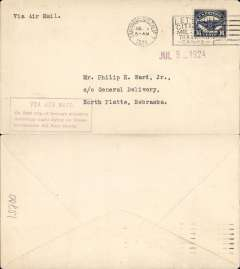 """(United States Internal) F/F Transcontinental Airmail Route involving night flying, flown eastbound from San Francisco to North Platte, no arrival ds, postmarked San Francisco 1/7,  plain cover franked correct 16c (C5) two zone rate, magenta four line boxed cachet """"Via Air Mail/On first trip through schedule/involving night flying on Trans-/continental Air Mail Route"""", typed  'Via Air Mail'."""