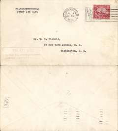 """(United States Internal) F/F Transcontinental Airmail Route involving night flying, flown eastbound from San Francisco 1/7 to New York, no arrival ds , plain cover addressed to Washington, correct 24c three zone rate, franked C6, magenta four line boxed cachet """"Via Air Mail/On first trip through schedule/involving night flying on Trans-/continental Air Mail Route"""", typed 'Transcontinental Night Air Mail'."""
