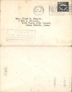 "(United States Internal) F/F Transcontinental Airmail Route involving night flying, flown eastbound from San Francisco to Iowa, no arrival ds, postmarked San Francisco 1/7,  plain cover franked correct 16c (C5) two zone rate, magenta four line boxed cachet ""Via Air Mail/On first trip through schedule/involving night flying on Trans-/continental Air Mail Route""."