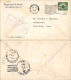"""(United States Internal) F/F Transcontinental Airmail Route involving night flying, flown eastbound from Iowa City to Chicago, bs 1/7, Raymond Bahr corner cover franked correct 8c (C4) one zone rate, magenta four line boxed cachet """"Via Air Mail/On first trip through schedule/involving night flying on Trans-/continental Air Mail Route"""", typed 'Via Air Mail'."""