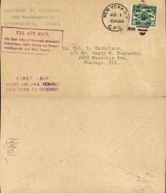 "(United States Internal) F/F Transcontinental Airmail Route involving night flying, flown westbound from New York to Chicago, no arrival ds, postmarked New York 1/7,  plain cover addressed to Chicago, franked correct 8c (C4) one zone rate, fine strike magenta four line boxed cachet ""Via Air Mail/On first trip through schedule/involving night flying on Trans-/continental Air Mail Route"", also magenta three line 'First Trip/Night Air Mail Service/New York to Chicago' hs."