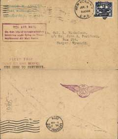 "(United States Internal) F/F Transcontinental Airmail Route involving night flying, flown westbound from New York to Cheyenne, bs 2/7, plain cover addressed to C asper, Wyoming, postmarked New York 1/7, franked correct16c (C5) two zone rate, fine strike magenta four line boxed cachet ""Via Air Mail/On first trip through schedule/involving night flying on Trans-/continental Air Mail Route"", magenta three line 'First Trip/Night Air Mail Service/New York to Cheyenne' hs, and magenta winged 'Via US Air Mail' cachet verso."
