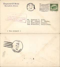 """(United States Internal) F/F Transcontinental Airmail Route involving night flying, flown westbound from Chicago 1/7 to San Francisco, no arrival ds, Raymond Bahr corner cover postmarked Springfield 1/7 franked correct 16c (C5) two zone rate, magenta four line boxed cachet """"Via Air Mail/On first trip through schedule/involving night flying on Trans-/continental Air Mail Route"""", typed 'Via Air Mail'."""