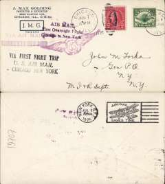 "(United States Internal) F/F Transcontinental Airmail Route involving night flying, flown eastbound from Chicago 1/7 to New York, bs 2/7 , Golding corner cover, correct 8c one zone rate, franked C4 + 2c, magenta three line cachet "" Air Mail/First Overnight Flight/Chicago to New York"", black three line cachet "" First Night Trip/US Air Mail/Chicago-New York"", and magenta winged 'Via US Air Mail' cachet."