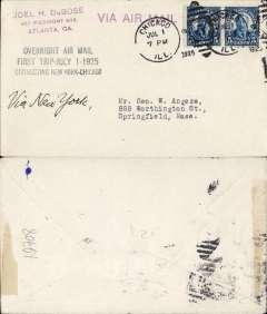 "(United States Internal) First Overnight Flight New York to Chicago, plain cover franked special 10c rate for this service, postmarked Chicago 1/7, addressed to Springfield, Ill, ms ' Via New York, black three line ""Overnight Air Mail/First Trip July 1 - 1925/Connecting New York-Chicago"", magenta 'Via Air Mail' hs."