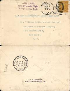"(United States Internal) First Overnight Flight New York to Chicago, plain cover franked special 10c rate for this service, postmarked Chicago 1/7, addressed to New York, magenta three line ""Air Mail/First Overnight Flight/Chicago-New York"", typed ' Via New York-Chicago Night Air Mail'."
