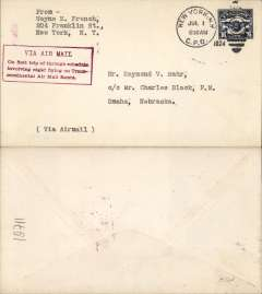 "(United States Internal) F/F Transcontinental Airmail Route involving night flying, flown westbound from New York to Omaha, no arrival ds, postmarked New York 1/7,  plain cover addressed to Omaha, franked correct 16c (C5) one zone rate, fine strike magenta four line boxed cachet ""Via Air Mail/On first trip through schedule/involving night flying on Trans-/continental Air Mail Route"", typed 'via Airmail/via Chicago'."