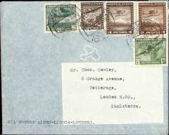 """(Chile) FAMA/BSAA/LAN, Iquique to London, no arrival ds, via Santiago 7/12, carried on F/F FAMA/BSAA from Santiago to London, plain cover franked 8P70 (1P20 for LAN, 2P50 for surface and 5P for air supplement), typed """"Via Buenos Aires-Lisboa-Londres"""". In cooperation with BSAA, FAMA started its international role from Santiago 0n 7/12/1946. This cover was flown from Iquique to Santiago by The Chilean National Airline LAN. Interesting."""