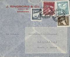 """(Chile) BSAA, Santiago to Sweden, no arrival ds, airmail commercial corner cover franked 12P90 (2P50 for surface and 5Px2 for air supplement), typed """"Via BSAA""""."""