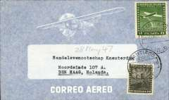 (Chile) BSAA, Santiago to Amsterdam, no arrival ds, airmail commercial corner cover addressed to the Royal Netherlands Steamship Co, franked 8P10.