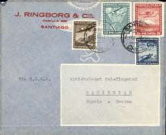 "(Chile) BSAA, Santiago to Sweden, no arrival ds, airmail commercial corner cover franked 7P70 (2P50 for surface and 5P20 for air supplement) , typed ""Via BSAA""."