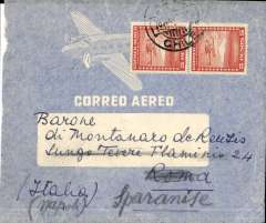 (Chile) BSAA, Santiago to Rome bs 4/7, and on to Sparanese Comperta 9/7, airmail cover addressed to Barone di Montanaro deReutis, franked 10P (2P50 surface and 7P50 air supplement.