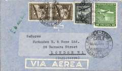 (Chile) Linea Aerea Nacional Maggalanes/BSAA, Punta Arenas to London, 8/8/48 company arrival ds, airmail cover addressed to Hovenden R. & Sons, franked 4p.40 for surface and LAN and 5P air supplement.