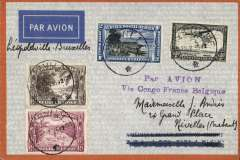 "(Belgian Congo) Thysville to Belgium, no arrival ds, pale grey/orange border Air France cover franked 2F80, canc Thysville cds, fine strike violet two line ""Par Avion/Via Congo France Belgique"" which was in  use in Thysville only between February and May 1935."