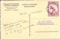 """(Belgium) Count De Looz-Corswarem, Mahieu and D'Hoore official flight to the Congo via the shortest route over the Libyan desert via Tunis-Sebha-Fort Lamy, Brussels to Leopoldville 17/10, carried by air to Leopoldville, then returned by surface mail to Belgium, Van Reet pictorial card franked Belgium 1F and Belgium 1c to obtain ultimate arrival mark (1/12) and Congo 75c canc Lepoldville 17/10, black """"Raid Mahieu"""" cachets front and verso, signed by Count De Looz-Corswarem under a handwritten comment on the deferred departure from Brussels. Rare, only ten such items were carried. Ex Clowes."""