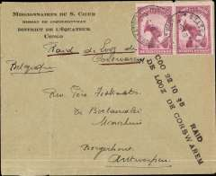 "(Belgian Congo) Return journey Coquilhatville to Antwerp via Brussels bs 2/11, Count De Looz-Corswarem, Mahieu and D'Hoore official flight to the Congo, Missionaires de Sacre Coeur/ Mission de Coquilhatville corner cover franked Congo 1F50 canc Coquilhatville 22/10 cds, ms ""Raid de Loos de Corswarem"", black two line""Coq 22 10 35 Raid/de Looz de Corswarem"" cachet.  Mail from Coquilhatville was very small, likely only 2-6 (at most) flown. Folds, but of good appearance and rare."