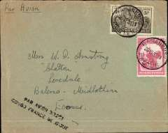 "(Belgian Congo) Sabena Direct Flight, Basankushu to London, no arrival ds, plain cover franked 2.50F overseas postage and 3.50F airmail, canc Basankushu cds, ms 'Par Avion', black two line ""Par Avion Direct/Congo France Belgique"". Basankusu was the first trade post along the river from Leopoldville. Its isolated situation  made communication with the wider world difficult. There was an airport, but passengers tended to be people working for NGOs or businesses in Kinshasa. Today there is no postal service in Basankusu. To send letters, the custom is to give to give them to someone who is travelling, or the pilot of the plane, to send from Kinshasa or Europe.  The cachet on this cover is unlisted in any of our files. A scarce item, ex Clowes."