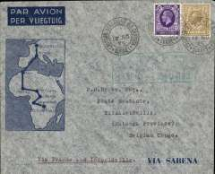 (GB External) GB acceptance for Sabena F/F extension of the regular Congo service to Elisabethville, bs 21/11, via Paris */XI/35 cds, Sabena Brussels-Elisabethville F/F souvenir cover franked 1/3d canc very fine strike 'Croydon Aerodrome' 14/No/35 cds, green framed  Brussels-Elisabethville F/F flight cachet (to be treated as a Brussels transit mark). Scarce, only a few examples of acceptances from GB exist (Philatelic Magazine, 21-2-36, page 130). Ex Clowes.