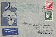 (Germany) Germany acceptance for Sabena F/F extension of the regular Congo service to Elisabethville, bs 21/11, via Brussels 15/11, Sabena Brussels-Elisabethville F/F souvenir cover franked 60Pf, canc Berlin 13/11 cds, green framed  Brussels-Elisabethville F/F flight cachet.