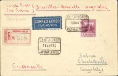 "(Andorra) Rare Andorra acceptance for the Belgian Congo, for carriage on the extension of the regular Congo service to Elisabethville, Andorra la Vieja to Elisabethville, ?21/11, via Seo de Urgo 14/11, Calaf 14/11 and Marseilles 14/11, Victor Nawratil registered (label) etiquette cover, franked Spanish PO Andorra 4P SG24, cat £28 used (scarce on cover), canc Certificado/13 Nov 35/Andora Lavieja boxed registration ds,  ms ""Correo Aereo Par Avion/Bruxelles-Marseille-Congo Belge"". One of the six believed to have been accepted at Andorra for thew service to Elisabethville by Sxabena.  A scarce item in superb condition."